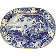 "Magnificent Large English Antique Staffordshire Blue Platter by Phillips, Longport, Depicting ""Pastoral Scene"""