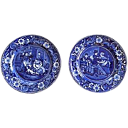 "Excellent Pair of Antique English Clews Staffordshire Plates ""From Wilkie's Designs"" in Deep Cobalt Blue Color, one plate titled ""The Escape of the Mouse"" and the other ""The Valentine"""