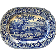 "English Antique Staffordshire Swansea Pearlware Blue and White Platter Depicting Country Pastoral Scene of the ""Ladies of Llangollen"", Circa 1825"