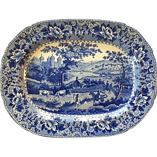 """English Antique Staffordshire Swansea Pearlware Blue and White Platter Depicting Country Pastoral Scene of the """"Ladies of Llangollen"""", Circa 1825"""