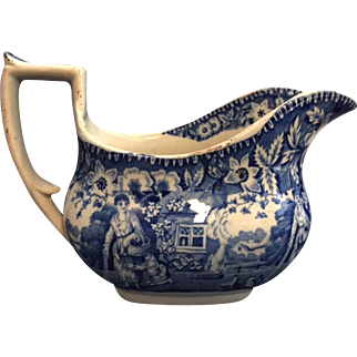 Antique English Blue and White Staffordshire Sauce Boat with Charming Country Scene of Woman and Child Feeding Chickens