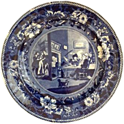 "Antique English ""Clews"" Blue Staffordshire Plate, of the ""Dr. Syntax"" Literary Series Titled ""Doctor Syntax Returns From His Tour"" - Early 19th Century, Excellent Condition!"
