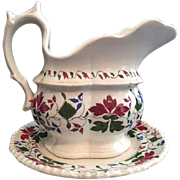 "Charming Antique Staffordshire ""Creamware"" Cream Pitcher on Toddy Plate Stand, Trailing Foliated Brushstroke Leaf Design in Crimson Red, Blue, Green"