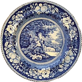 "Charming Antique English Staffordshire Blue Transfer Plate with ""Shelter'd Peasants"" Pastoral Scene - Excellent Condition!"