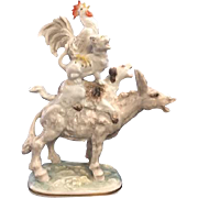 "Charming Hutschenreuther Selb Porcelain Figurine Titled ""The Town Musicians of Bremen"" - Depicting Adorable Donkey, Dog, Cat and Rooster Singing!"