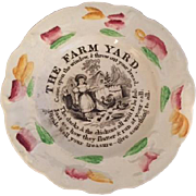 Child's Staffordshire Transferware Plate with Farm Scene of Young Girl Feeding Chickens, Circa 1830