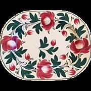 Large Antique Staffordshire Davenport Adams Rose Pearlware Platter