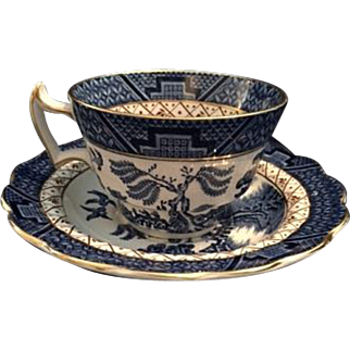 "Booths ""Real Old Willow"" A8025 Cup & Saucer with Gold Trim"