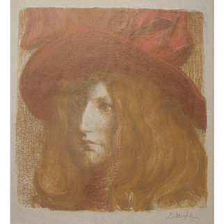 Eduard Stiefel Art Nouveau Color Lithograph Girl in Red Hat Signed C.1915