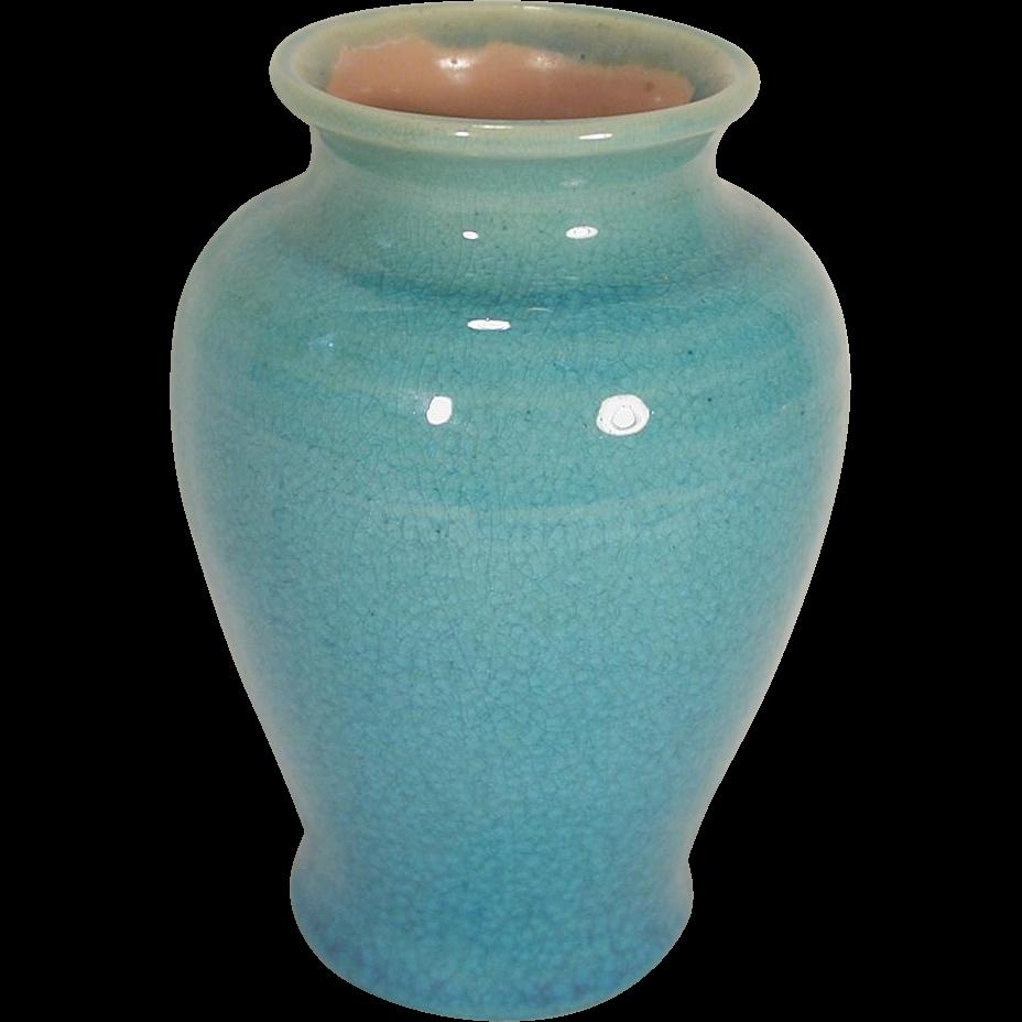 Pisgah Forest Pottery Vase Turquoise Crackle Glaze 1939
