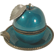 Vintage Evans LIghter Turquoise Blue Enameled Apple & Ashtray Set
