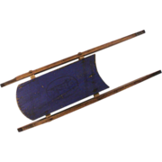 Small Antique Child's Sled Blue with Black Setter Dog Decoration