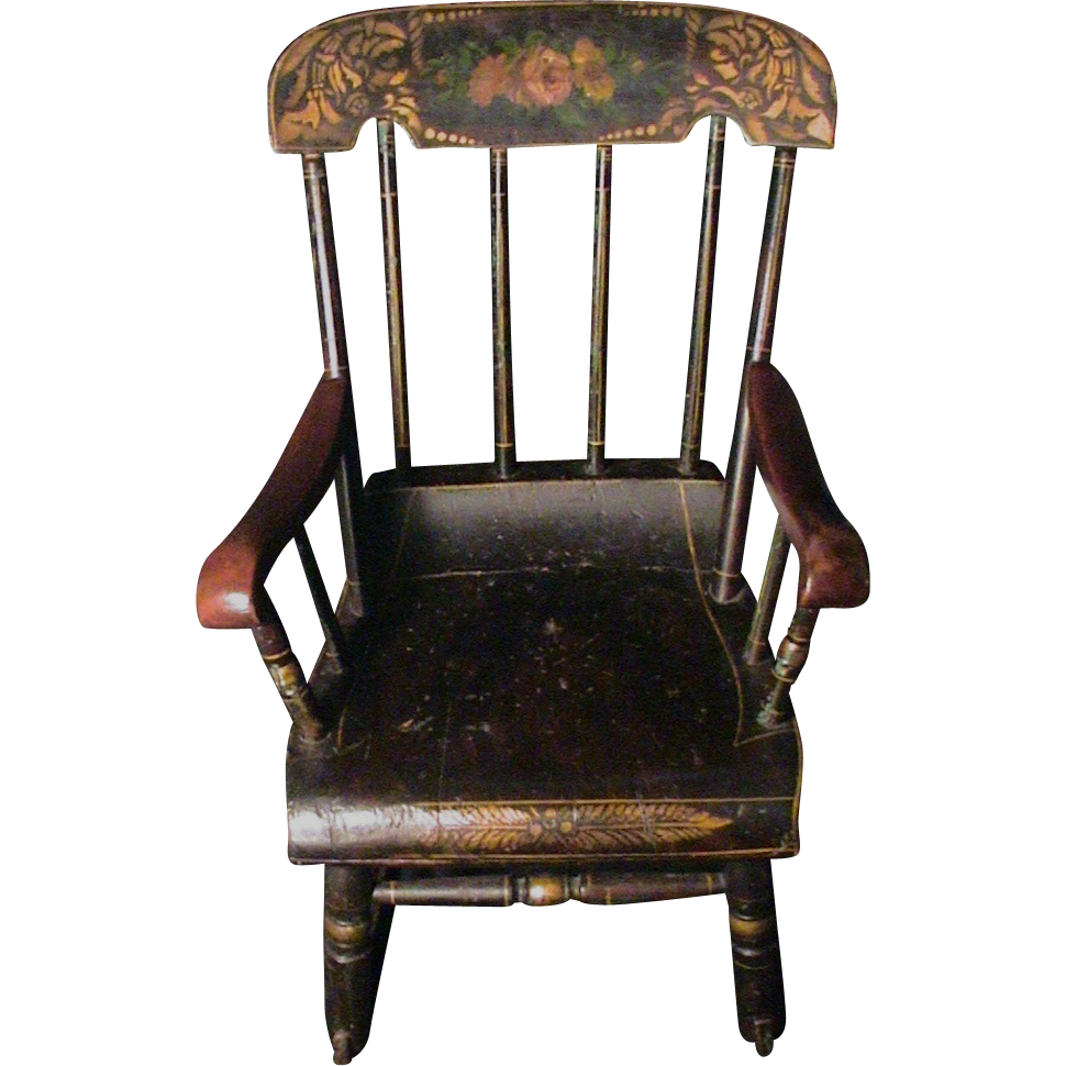 antique childs rocking chair Antique Child's Rocking Chair Roses & Stenciled 19th C. Boston  antique childs rocking chair