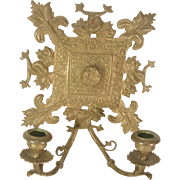 Ornate Victorian Brass Candle Sconce Dolphins