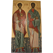 Vintage Hand Painted Icon of Saints Greek Orthodox