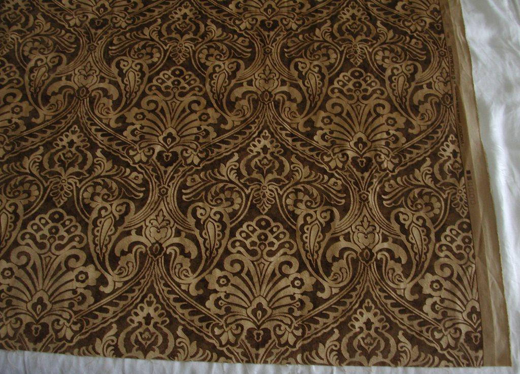 Schumacher italian printed velvet fabric vincenzo for Fabric remnants