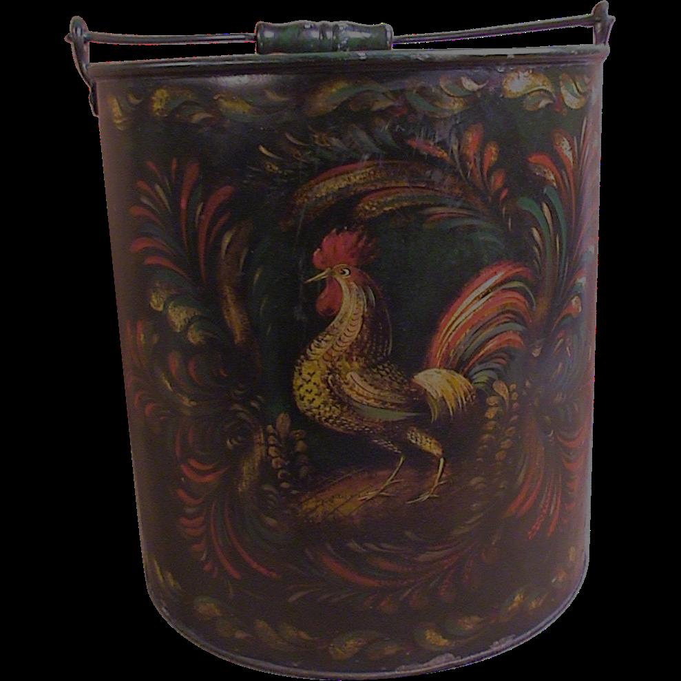 Peter Ompir Folk Art Hand Painted Large Metal Bucket With