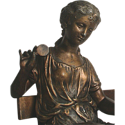Antique Victorian Spelter Mantle Statue Beautiful Woman with Magnifying Glass & Posey