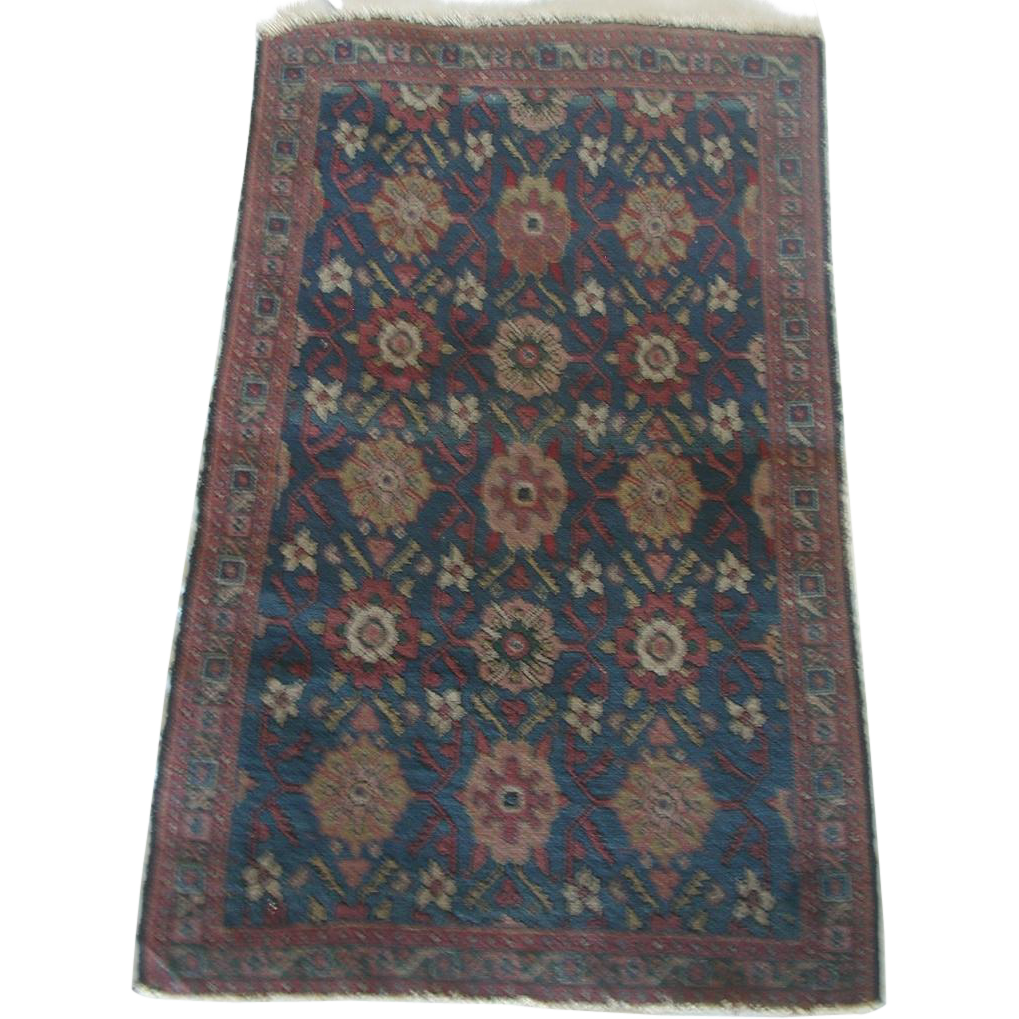 Small Oriental Rug Or Mat Prayer Rug C.1920 From