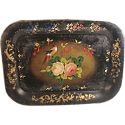 Toleware Tray Roses Bird Hand Painted Stenciled Antique Victorian