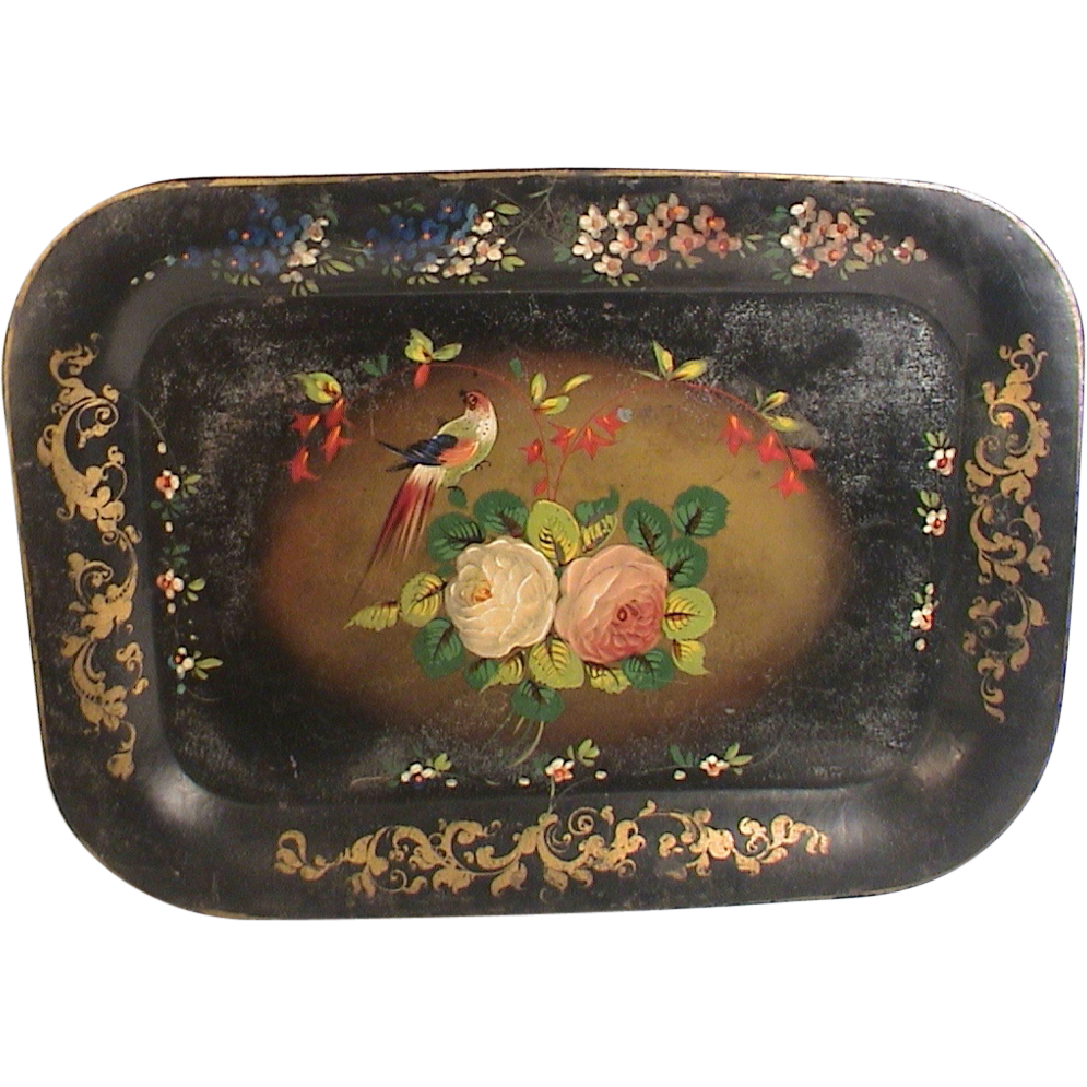 Toleware Tray Roses Bird Hand Painted Stenciled Antique