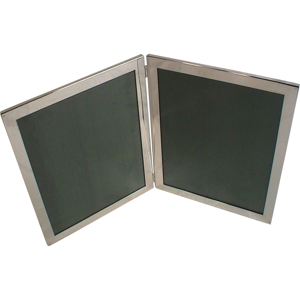 web sterling silver large double easel frame pair 8x10 photograph frames hinged together vintage