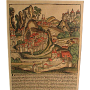 Incunabula Leaf Page 15thC. Large Woodcut Illustration Hand Colored.