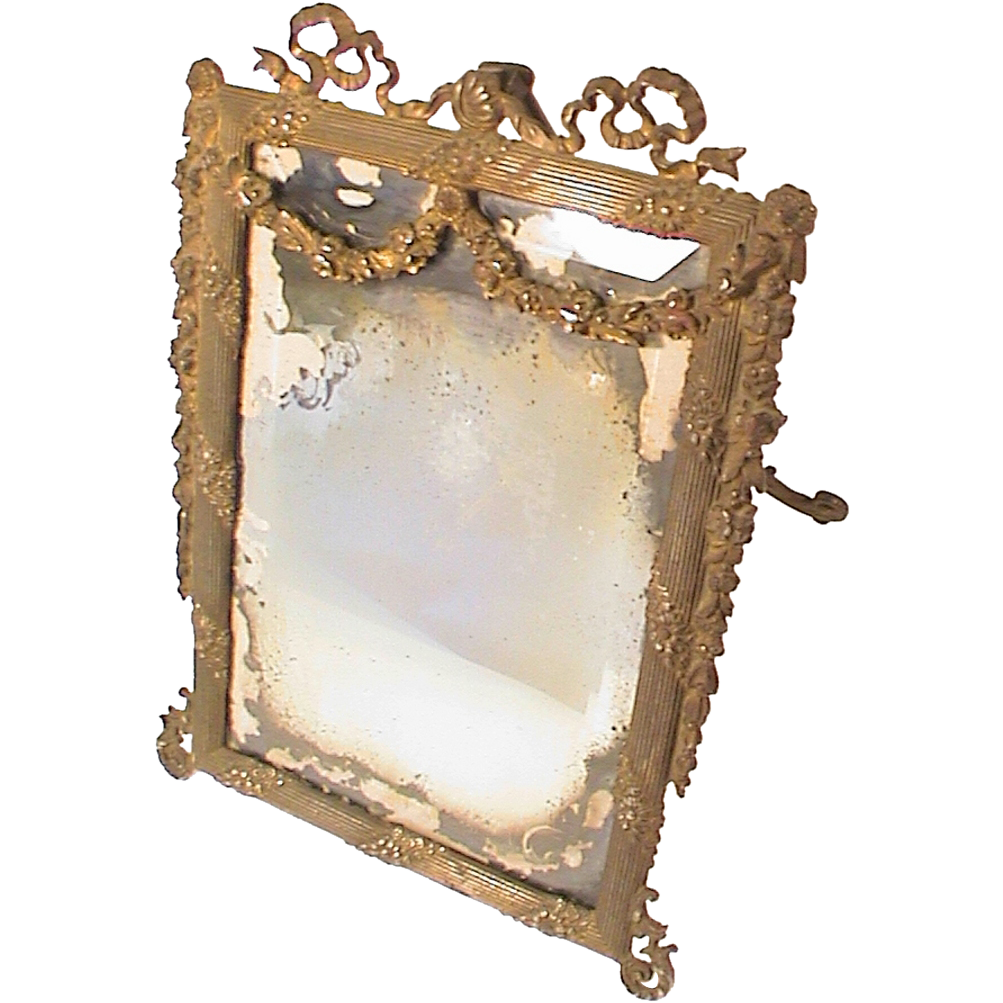 Antique victorian ornate cast iron vanity easel mirror for Victorian mirror