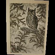 Masaharu Aoyama Japanese Woodblock Print Owl and Moon Pencil Signed