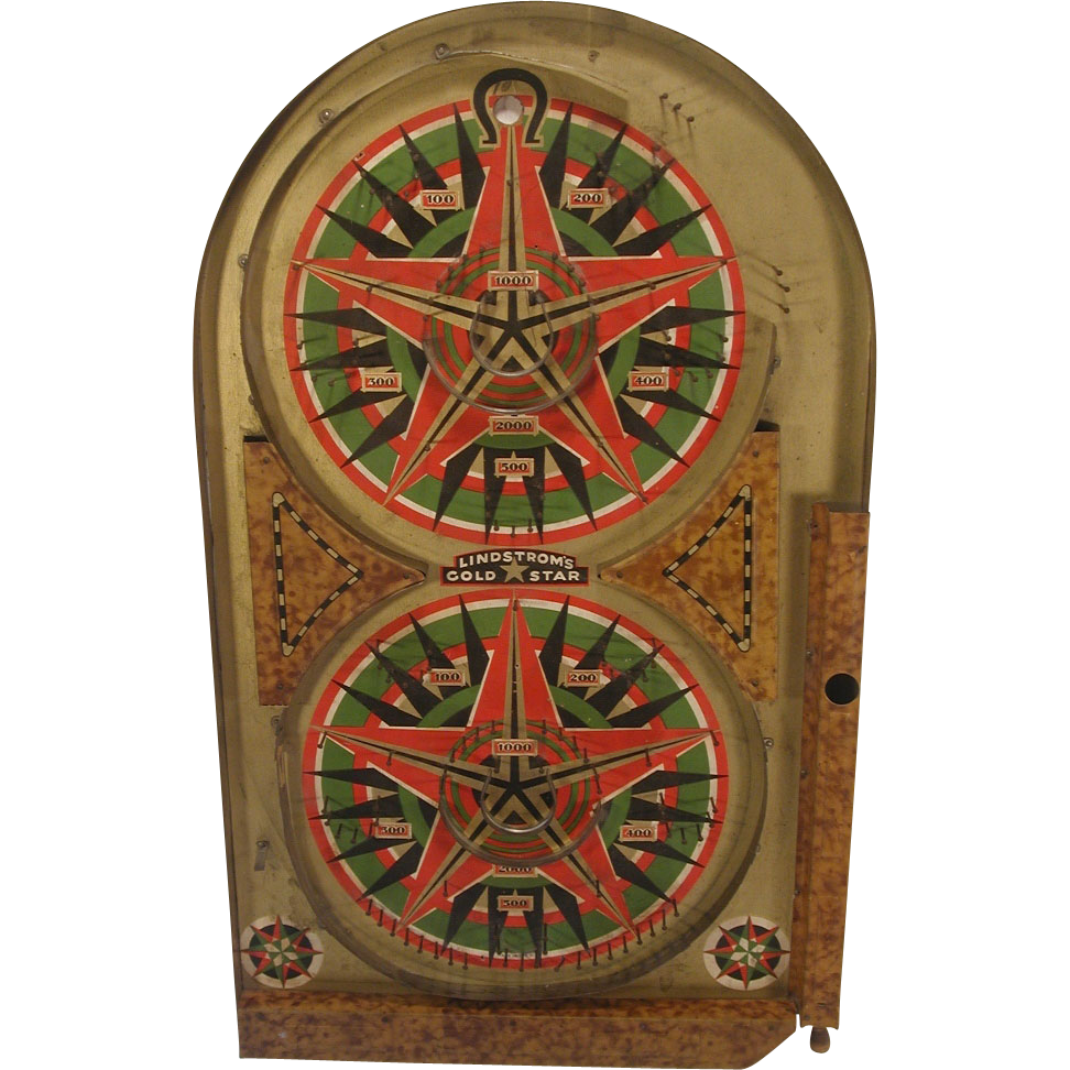 Vintage 1934 Lindstrom S Gold Star Marble Pinball Game Tin