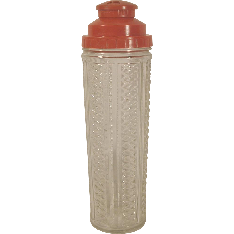Vintage medco glass cocktail shaker red plastic recipe top from agoantiques on ruby lane - Top plastic krukje ...