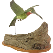 Tom Monroe Hummingbird Bird Wood Carving Signed