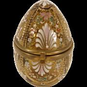 Antique Bohemian Glass Enamel Jewelry Box Casket Egg Shape