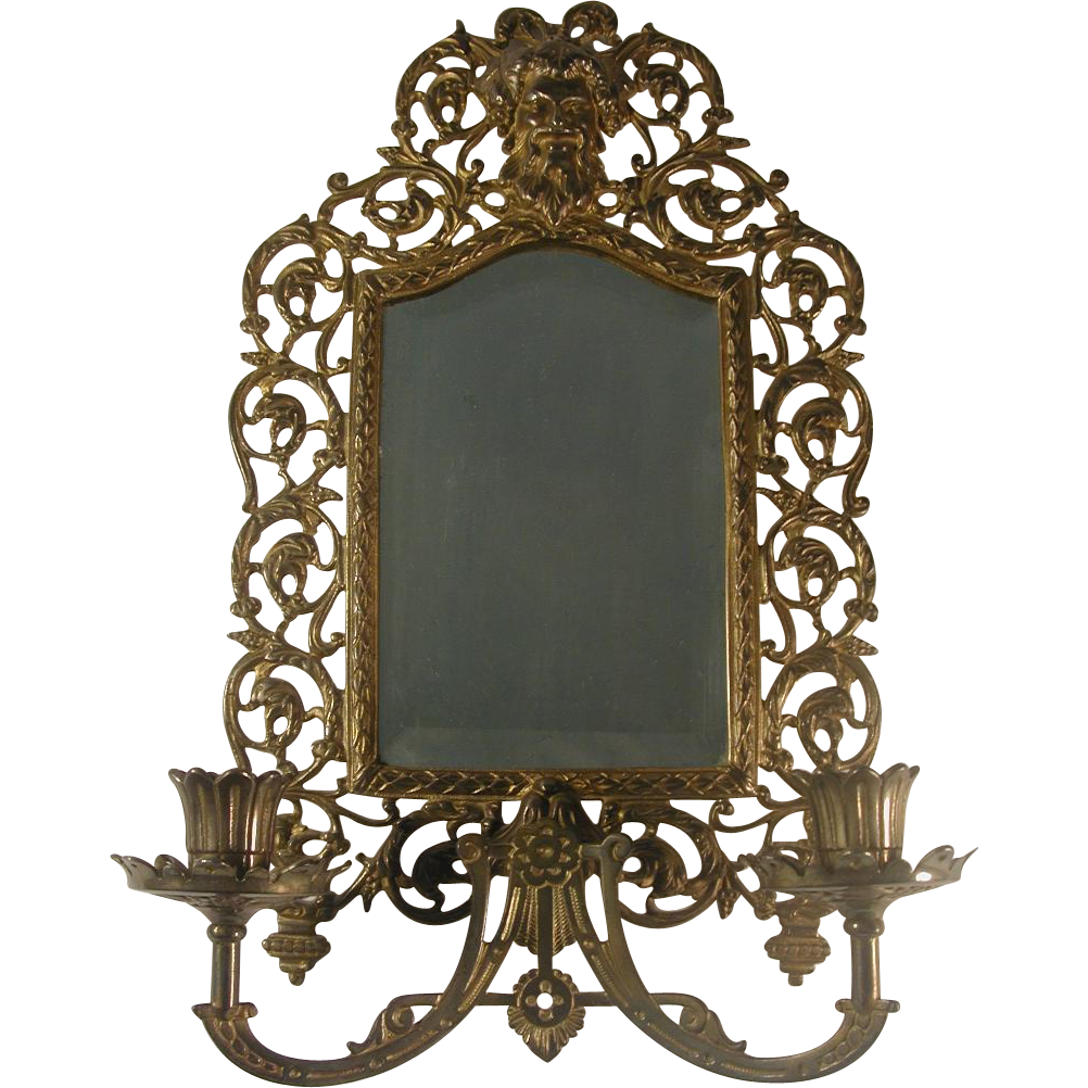 Ornate bradley hubbard candle sconce beveled mirror for Bradley mirror
