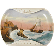 Little Victorian Seascape Painting over Transferware on China Dish