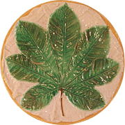 Victorian Majolica Leaf Plate Signed