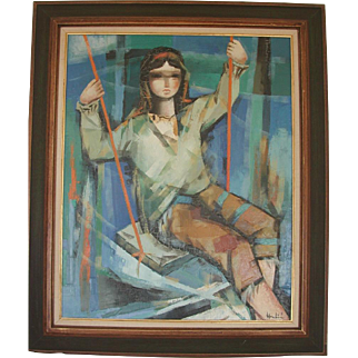 Large Mid Century Modern Oil Painting Girl on Swing Signed