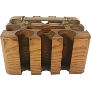 19th C. Oak Poker Chip Holder with Nickel Plated Handle