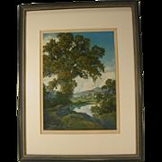 Original Maxfield Parrish Print Peaceful Valley Vintage