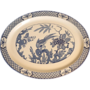 "Yuan 16"" Blue & White Bird Platter Wood & Sons C.1920"