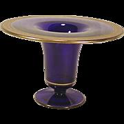 C.1920 Elegant Large Cobalt Blue Vase Wide Gold Border Trim Vintage