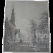 Large New York City Street Scene c.1900 by E.L. Henry, Saint Johns Chapel, Hand Colored