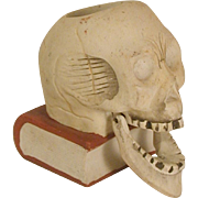 Scary Skull Figural Bisque Match Holder Articulated Jaw Japanese Vintage