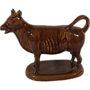 Antique Cow Creamer Brown Rockingham Glaze