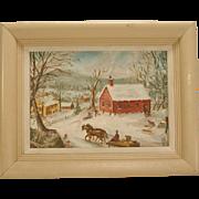 Small Folk Art Painting New England Landscape Signed Vintage Children Sledding