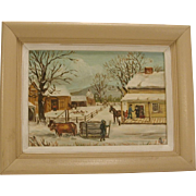 Small Folk Art Painting New England Landscape Signed Vintage Oxen Cart