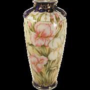 "Large 12 1/2"" Hand Painted Bejeweled Porcelain Vase Irises AS IS Vintage"