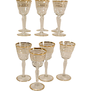 10 Vintage Small Wine Glasses Four Gold Bands Stemmed Stemware