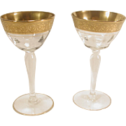 """4 Tiffin Rambler Rose Champagne Tall Sherbet Glasses 5 1/8"""" Clear Gold Encrusted"""