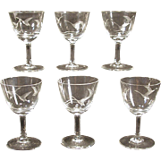 6 Small  Glasses with Etched Swans Vintage Stemware Stemmed